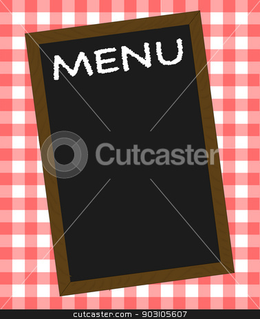 Menu stock vector clipart, A menu board over a gingham tablecloth by Kotto