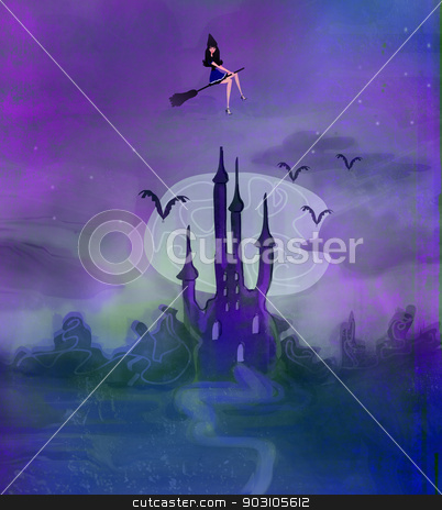 Witch flying on a broom in moonlight.  stock photo, Witch flying on a broom in moonlight.  by Jacky Brown