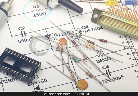 Electronic components stock photo, Electronic components by B.F.