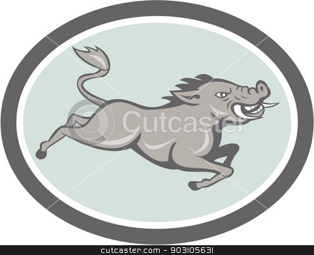 Wild Boar Razorback Jumping Side Cartoon stock vector clipart, Illustration of a wild pig boar razorback jumping on isolated background done in cartoon style set inside oval. by patrimonio