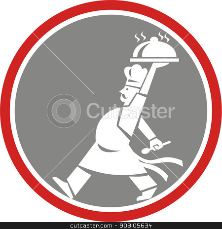 Chef Cook Serving Food Platter Side Circle Retro stock vector clipart, Illustration of a chef, cook or baker holding serving plate platter of food set inside circle walking viewed from side done in retro style. by patrimonio