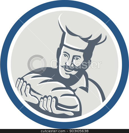 Baker Hold Bread Loaf Retro Circle stock vector clipart, Illustration of a baker chef cook holding loaf of bread set inside circle on isolated background done in retro style. by patrimonio