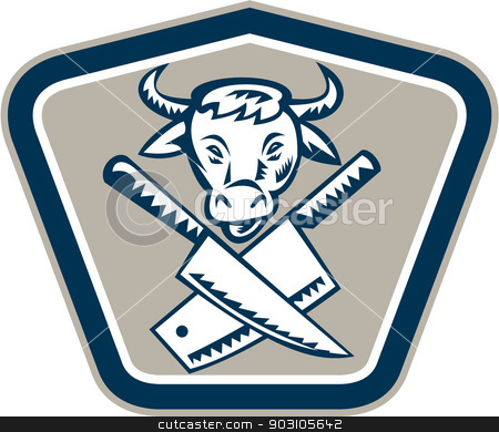 Butcher Knife Cow Head Shield stock vector clipart, Retro woodcut style illustration of a crossed butcher meat cleaver knife with cow head facing front set inside shield on isolated background. by patrimonio