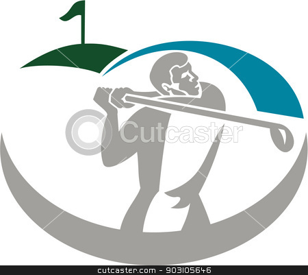 Golfer Tee Off Golf Retro stock vector clipart, Illustration of a golfer playing golf swinging club tee off set on isolated background done in retro style. by patrimonio