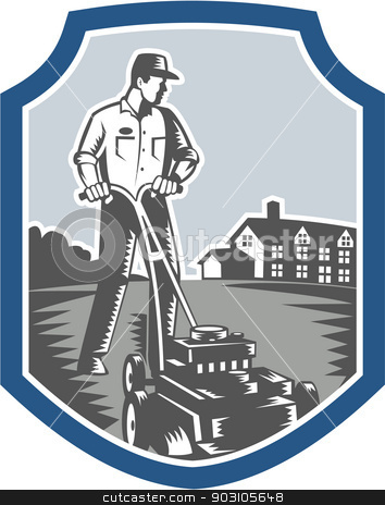 Gardener Mow Lawn Mower Woodcut Shield stock vector clipart, Illustration of male gardener mowing with lawn mower facing front set inside shield crest with house in background done in retro woodcut style. by patrimonio
