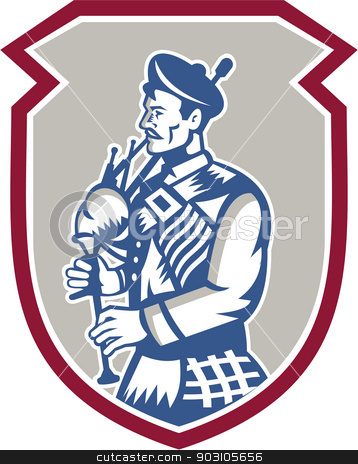 Scotsman Bagpiper Playing Bagpipes Shield stock vector clipart, Illustration of a scotsman bagpiper playing bagpipes viewed from side set inside shield crest on isolated background done in retro woodcut style. by patrimonio
