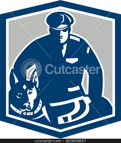 Canine Policeman With Police Dog Retro stock vector clipart, Illustration of a canine policeman police officer security guard with police dog with facing front set inside shield crest on isolated background done in retro style. by patrimonio