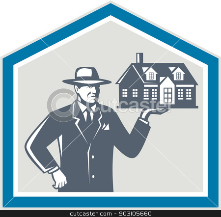 Real Estate Salesman Sell House Retro stock vector clipart, Illustration of real estate salesman sales agent wearing hat holding a house on his hand set inside shiled on isolated background done in retro style. by patrimonio