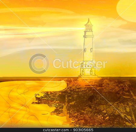 lighthouse seen from a tiny beach - Grunge Poster  stock photo, lighthouse seen from a tiny beach - Grunge Poster  by Jacky Brown
