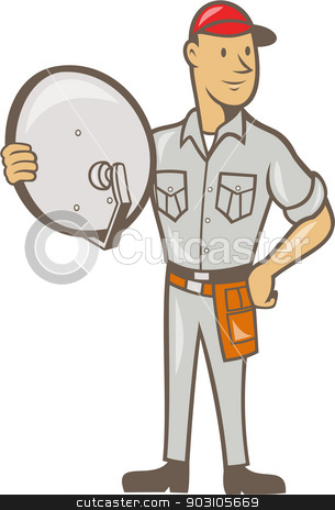 Cable TV Installer Guy Standing stock vector clipart, Illustration of a cable tv installer guy holding satellite dish viewed from front done in cartoon style on isolated white background. by patrimonio