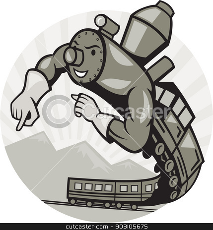 Super Steam Train Locomotive Man  stock vector clipart, Illustration of a Super hero steam train locomotive man flying up done in cartoon  style on isolated background. by patrimonio