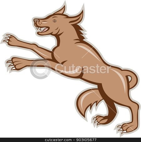 Wolf Wild Dog on Hind Legs Cartoon stock vector clipart, Illustration of an angry wild dog wolf on it's hind legs viewed from side done in cartoon style on isolated background. by patrimonio