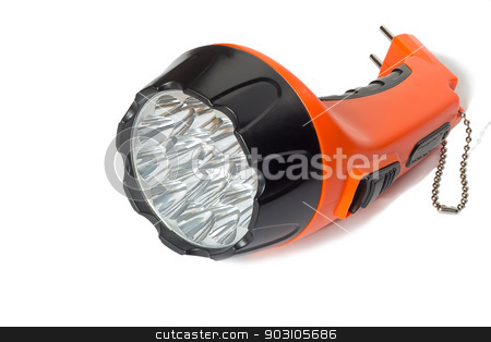 Electric rechargeable led flashlight on a white background. stock photo, Comfortable small battery electric torch orange. Presented on a white background. by Georgina198
