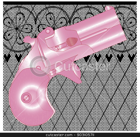 Ladies Gun stock vector clipart, A Derringer pistol in pink over a lace stocking background in a fishnet style with hearts and flowers by Kotto