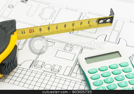 House plan stock photo, House plan by B.F.