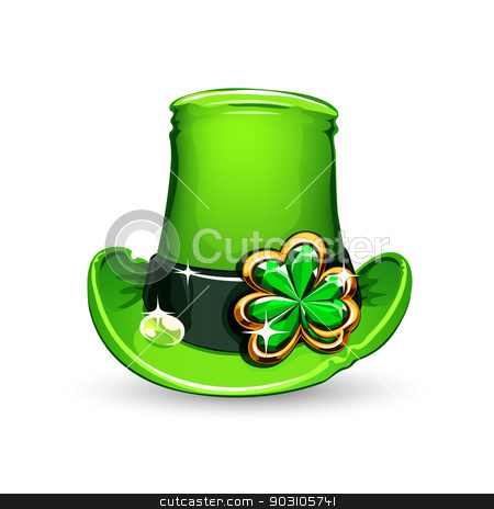 st.Patrick's Day's emerald clover on hat stock vector clipart, st.Patrick's Day's symbol emerald clover on hat. Isolated on white background. by Viachaslau Vaitsenok