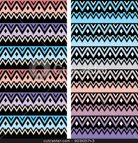 Tribal seamless two patterns, aztec ombre print stock vector clipart, Vector seamless aztec ornament, ethnic pattern in pink, blue and purple by Agnieszka Murphy