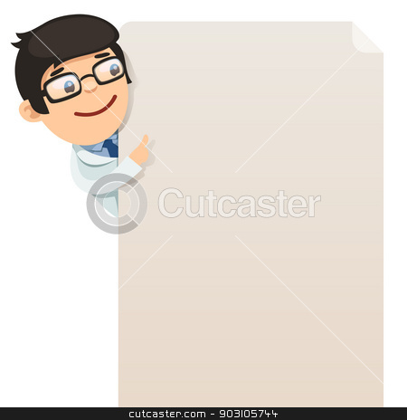 Doctor looking at blank poster stock vector clipart, Doctor looking at blank poster. In the EPS file, each element is grouped separately. Isolated on white background. by Viachaslau Vaitsenok