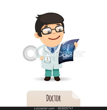 Doctor looking at x-ray stock vector clipart, Doctor looking at x-ray. In the EPS file, each element is grouped separately. Isolated on white background. by Viachaslau Vaitsenok
