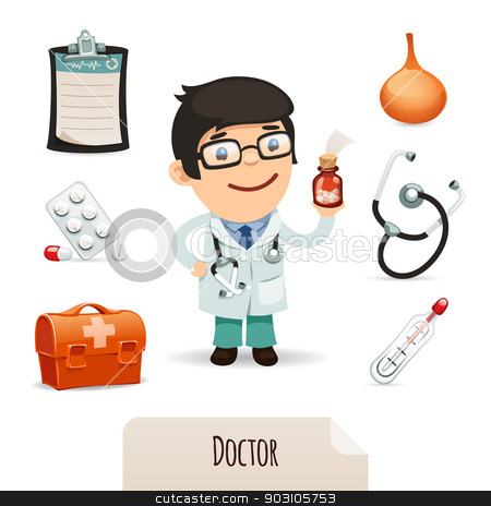 Medical set with a male doctor stock vector clipart, Medical set with a male doctor. In the EPS file, each element is grouped separately. Isolated on white background. by Viachaslau Vaitsenok