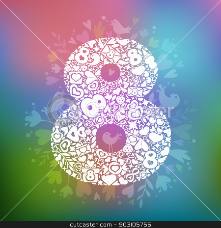 March 8 white objects on a multicolor background stock vector clipart, March 8 is composed of romantic shapes by Viachaslau Vaitsenok