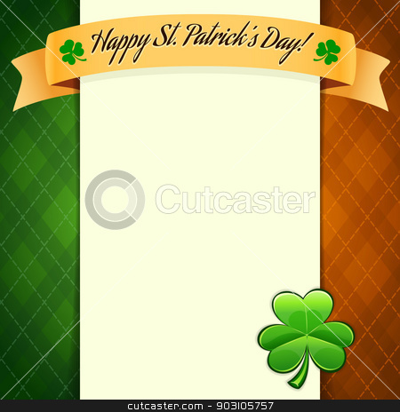 St Patrick's Day's poster with irish flag's colors stock vector clipart, St Patrick's Day's poster with irish flag's colors. Editable pattern in swatches. by Viachaslau Vaitsenok