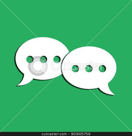 Dialog symbol  stock photo, Dialog symbol on a green background. Flat design element. by Bratovanov