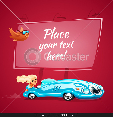 Sexy young lady drives a blue car stock vector clipart, Sexy young lady drives a blue car. In the EPS file, each element is grouped separately. by Viachaslau Vaitsenok