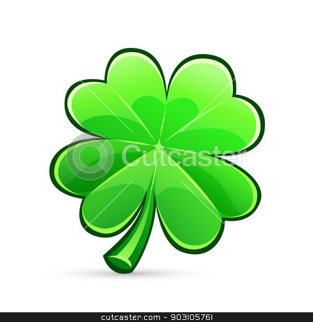 st.Patrick's Day's four-leaf clover stock vector clipart, st.Patrick's Day's symbol glossy four-leaf clover. Isolated on white background. by Viachaslau Vaitsenok