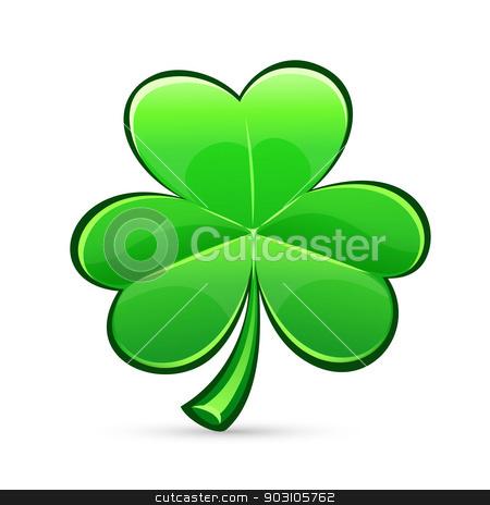 st.Patrick's Day's trefoil stock vector clipart, st.Patrick's Day's symbol glossy trefoil. Isolated on white background. by Viachaslau Vaitsenok