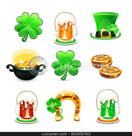 st.Patrick's Day's icons set on white background stock vector clipart, st.Patrick's Day's icons set isolated on white background. In the EPS file, each element is grouped separately. by Viachaslau Vaitsenok