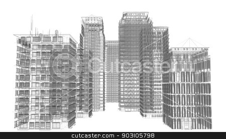 Highly detailed buildings stock photo, Highly detailed buildings. Isolated wire-frame render on a white background by cherezoff