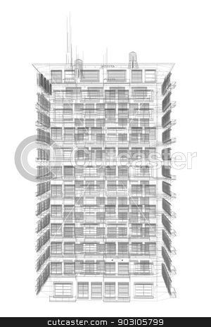 Highly detailed building. Wire-frame render stock photo, Highly detailed building. Isolated wire-frame render on a white background by cherezoff