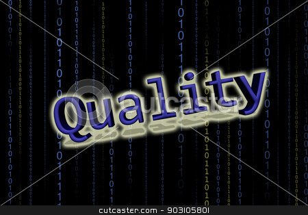 Quality stock photo, Word quality in black background by B.F.