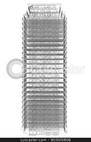 Highly detailed building stock photo, Highly detailed building. Isolated wire-frame render on a white background by cherezoff