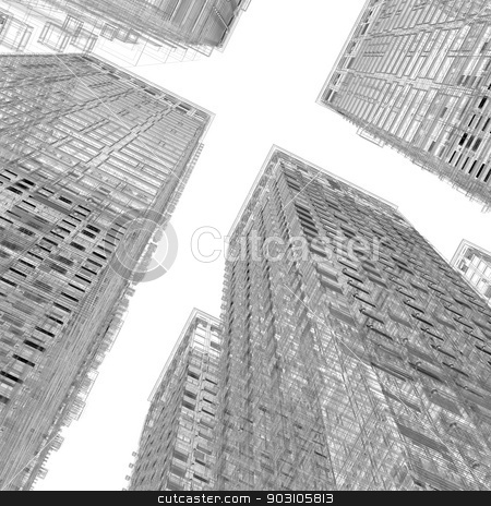 Skyscrapers stock photo, Skyscrapers. Isolated wire-frame render on a white background by cherezoff