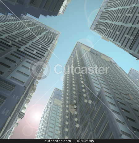 Skyscrapers stock photo, Skyscrapers. Render on a futuristic sky background by cherezoff