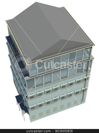 Highly detailed building stock photo, Highly detailed building. Isolated render on a white background by cherezoff