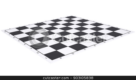 Empty chessboard stock photo, Empty chessboard. Render on a white background by cherezoff