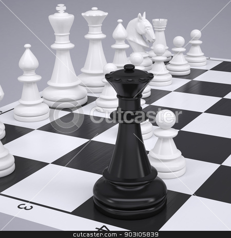 Chess on the chessboard stock photo, Chess on the chessboard. Render on a gray background by cherezoff