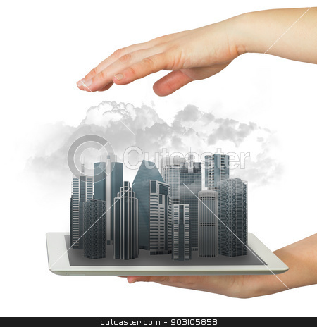Hands holding tablet computer stock photo, Hands holding a tablet computer. In screen tablet city of skyscrapers and smoke by cherezoff