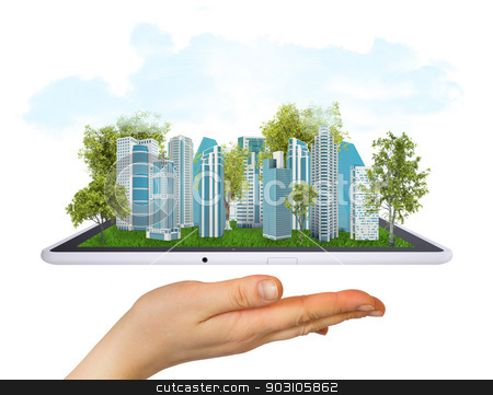 Hand holding tablet computer stock photo, Hand holding a tablet computer. In screen tablet city of skyscrapers by cherezoff