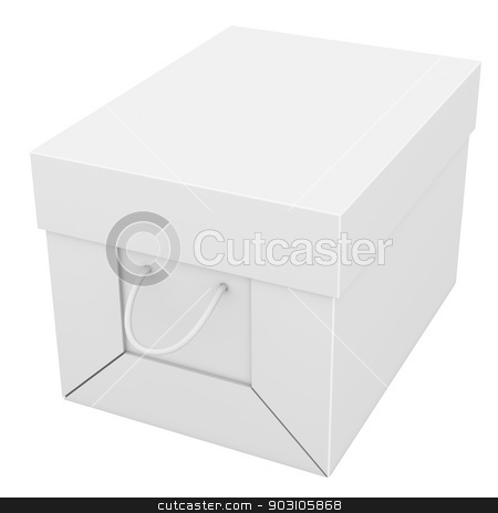 Closed white cardboard package box stock photo, Closed white cardboard package box. Isolated on white background by cherezoff