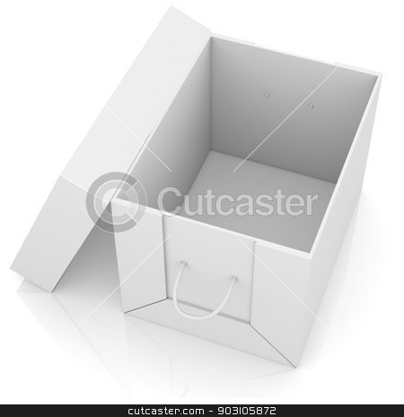Opened white cardboard package box stock photo, Opened white cardboard package box. Isolated on white background by cherezoff