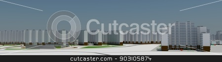 Residential district stock photo, Residential district. 3d rendering on blue sky background by cherezoff