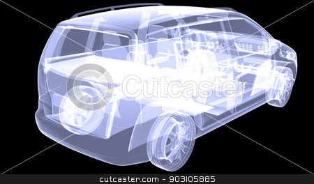 X-ray concept car stock photo, X-ray concept car. Isolated render on a black background by cherezoff