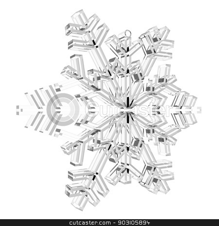 Glass Snowflake stock photo, Glass Snowflake. Isolated render on white background by cherezoff