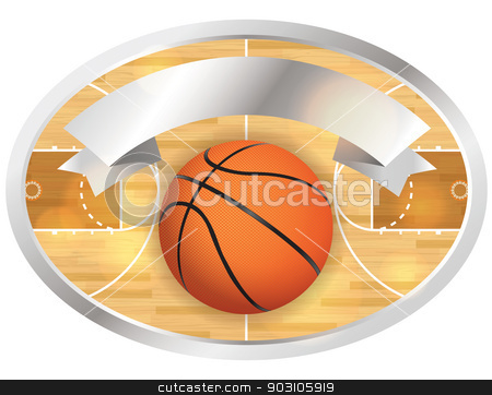 Basketball Court Badge and Banner stock vector clipart, An illustration of a basketball court and banner. Vector EPS 10 file available. EPS file contains transparencies.  by Jason Enterline