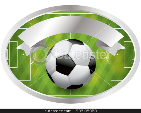 Soccer - Football Badge and Banner stock vector clipart, An illustration of a soccer - football badge with banner. Vector EPS 10 file available. EPS file contains transparencies and gradient mesh. by Jason Enterline