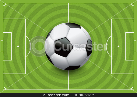 Realistic Football - Soccer Ball on Textured Field stock vector clipart, A realistic football / soccer ball on a textured grass playing field. Vector EPS 10 file available. EPS file contains transparencies and gradient mesh. by Jason Enterline